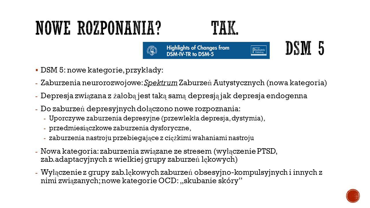 """ DSM 5: nowe kategorie, przyk ł ady: - Zaburzenia neurorozwojowe: Spektrum Zaburze ń Autystycznych (nowa kategoria) - Depresja zwi ą zana z ż a ł ob ą jest tak ą sam ą depresj ą jak depresja endogenna - Do zaburze ń depresyjnych do łą czono nowe rozpoznania: - Uporczywe zaburzenia depresyjne (przewlek ł a depresja, dystymia), - przedmiesi ą czkowe zaburzenia dysforyczne, - zaburzenia nastroju przebiegaj ą ce z ci ęż kimi wahaniami nastroju - Nowa kategoria: zaburzenia zwi ą zane ze stresem (wy łą czenie PTSD, zab.adaptacyjnych z wielkiej grupy zaburze ń l ę kowych) - Wy łą czenie z grupy zab.l ę kowych zaburze ń obsesyjno-kompulsyjnych i innych z nimi zwi ą zanych; nowe kategorie OCD: """"skubanie skóry"""