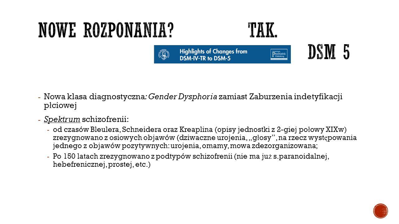 """- Nowa klasa diagnostyczna: Gender Dysphoria zamiast Zaburzenia indetyfikacji p ł ciowej - Spektrum schizofrenii: - od czasów Bleulera, Schneidera oraz Kreaplina (opisy jednostki z 2-giej po ł owy XIXw) zrezygnowano z osiowych objawów (dziwaczne urojenia, """"g ł osy , na rzecz wyst ę powania jednego z objawów pozytywnych: urojenia, omamy, mowa zdezorganizowana; - Po 150 latach zrezygnowano z podtypów schizofrenii (nie ma ju ż s.paranoidalnej, hebefrenicznej, prostej, etc.)"""