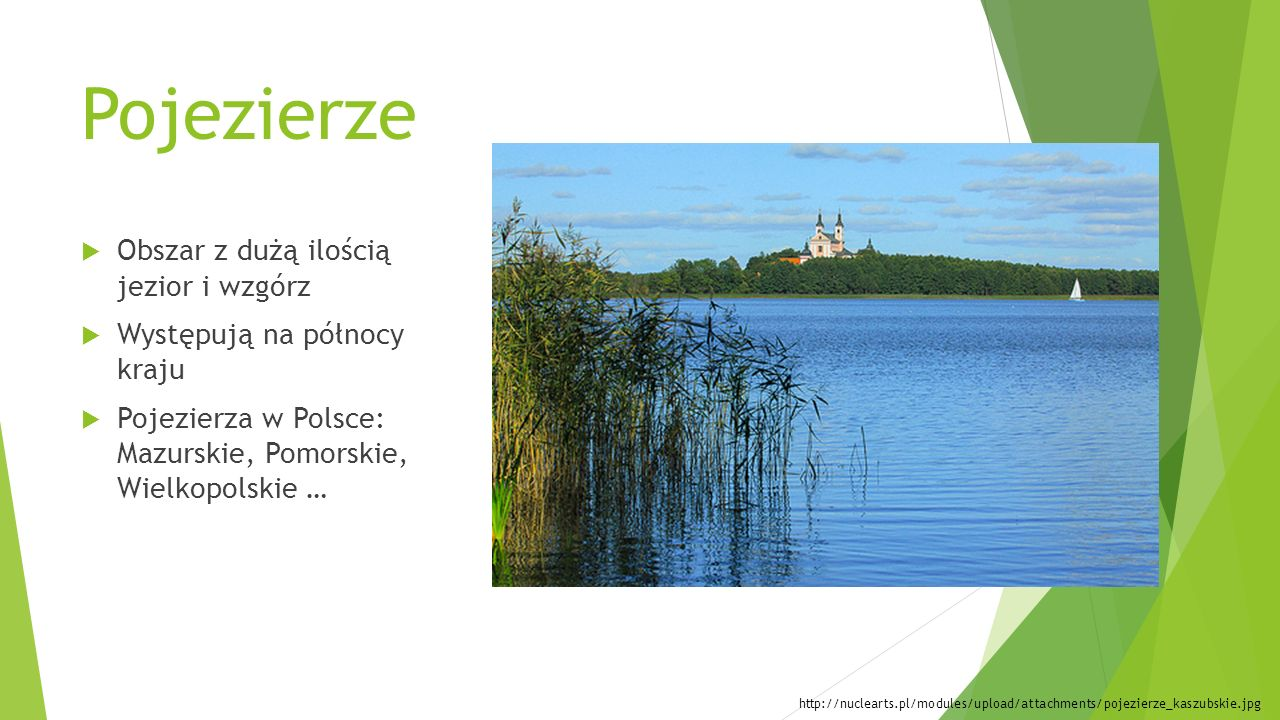 Pojezierze  Obszar z dużą ilością jezior i wzgórz  Występują na północy kraju  Pojezierza w Polsce: Mazurskie, Pomorskie, Wielkopolskie … http://nu