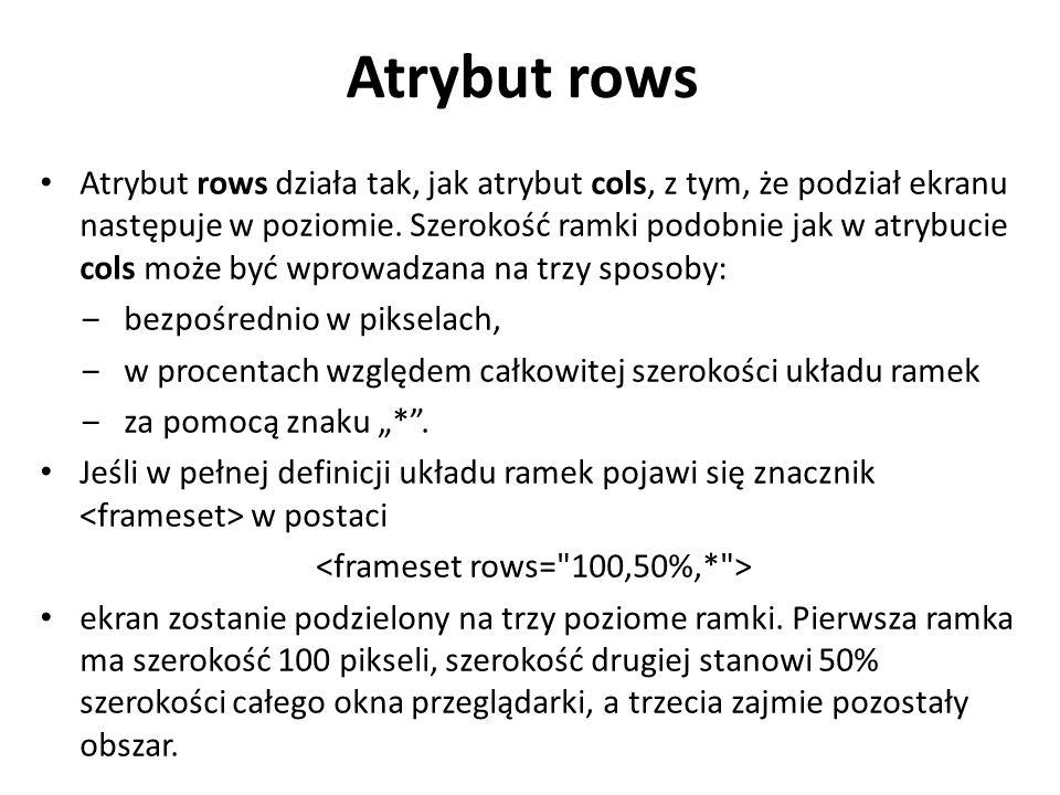 Atrybut rows Atrybut rows działa tak, jak atrybut cols, z tym, że podział ekranu następuje w poziomie. Szerokość ramki podobnie jak w atrybucie cols m