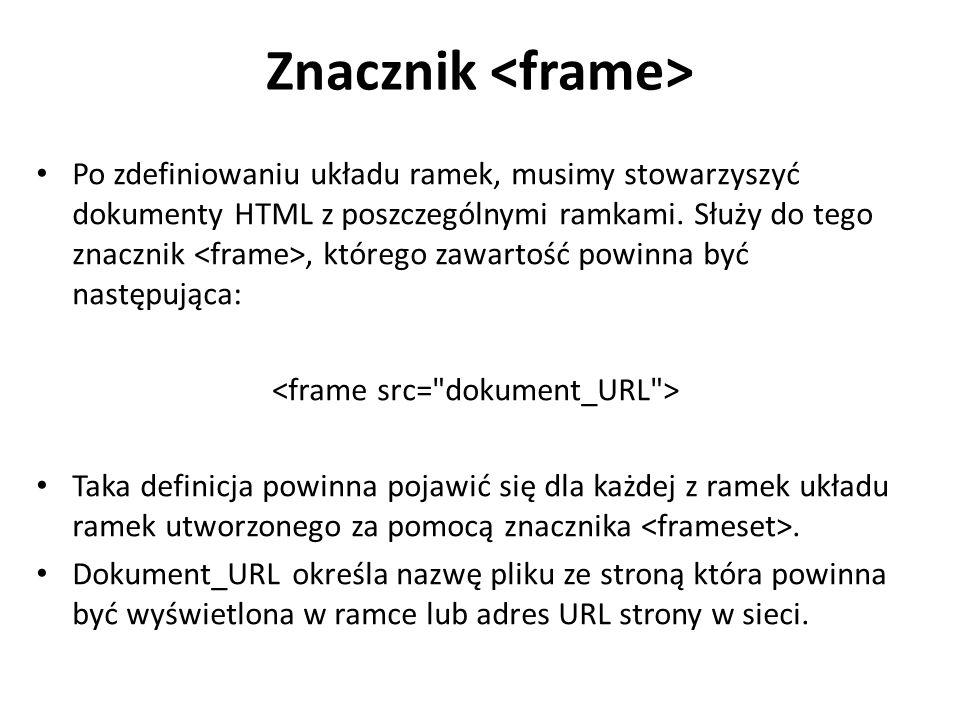 Znacznik Po zdefiniowaniu układu ramek, musimy stowarzyszyć dokumenty HTML z poszczególnymi ramkami. Służy do tego znacznik, którego zawartość powinna