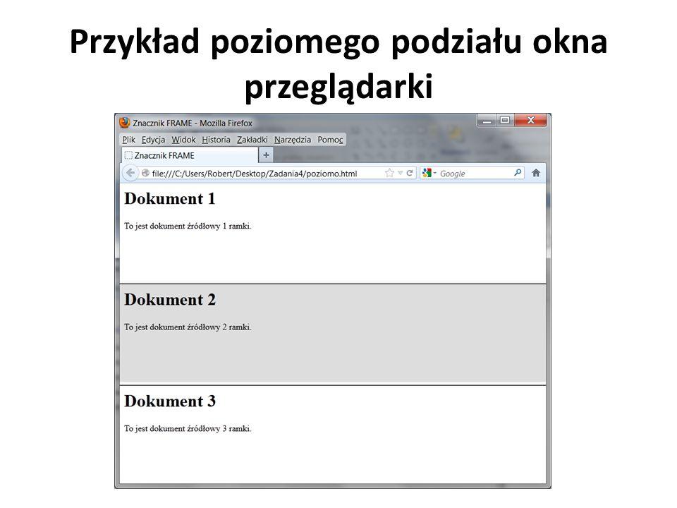Przykład poziomego podziału okna przeglądarki