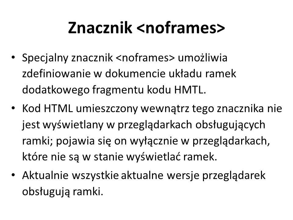 Znacznik Specjalny znacznik umożliwia zdefiniowanie w dokumencie układu ramek dodatkowego fragmentu kodu HMTL. Kod HTML umieszczony wewnątrz tego znac