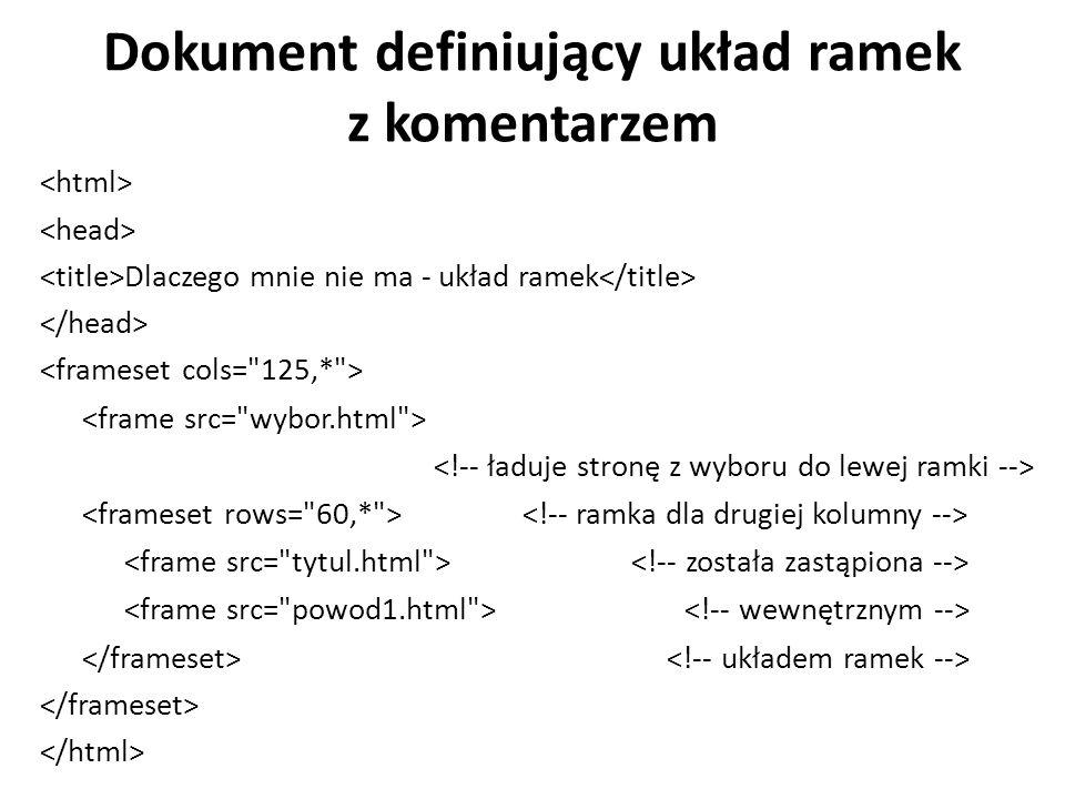 Dokument definiujący układ ramek z komentarzem Dlaczego mnie nie ma - układ ramek