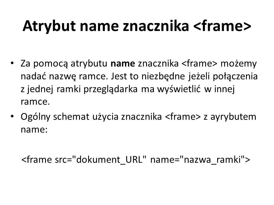 Atrybut name znacznika Za pomocą atrybutu name znacznika możemy nadać nazwę ramce.
