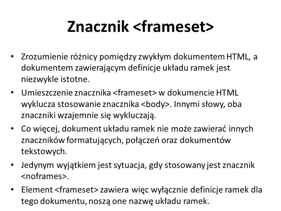 Znacznik Zrozumienie różnicy pomiędzy zwykłym dokumentem HTML, a dokumentem zawierającym definicje układu ramek jest niezwykle istotne.