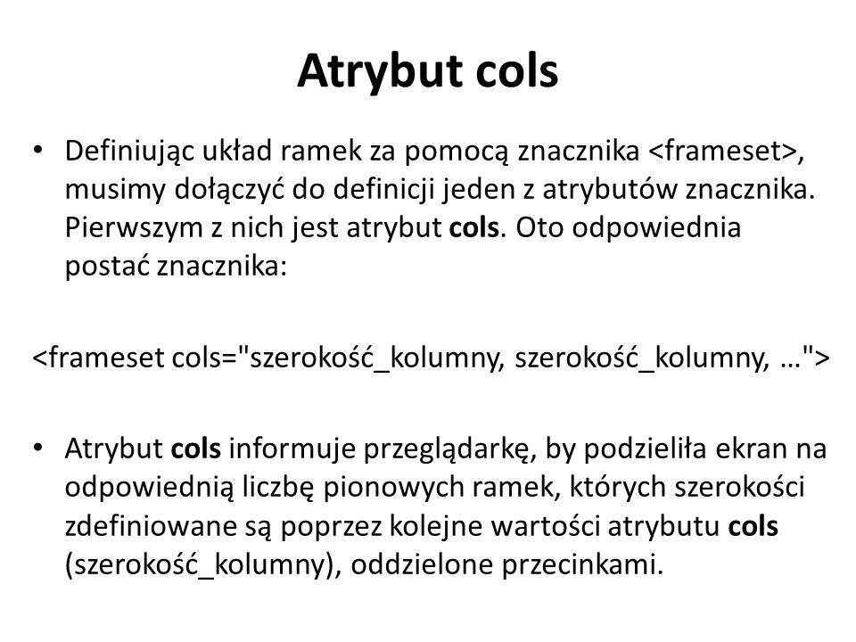 Atrybut cols Definiując układ ramek za pomocą znacznika, musimy dołączyć do definicji jeden z atrybutów znacznika. Pierwszym z nich jest atrybut cols.