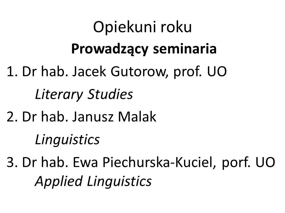 Opiekuni roku Prowadzący seminaria 1.Dr hab. Jacek Gutorow, prof.