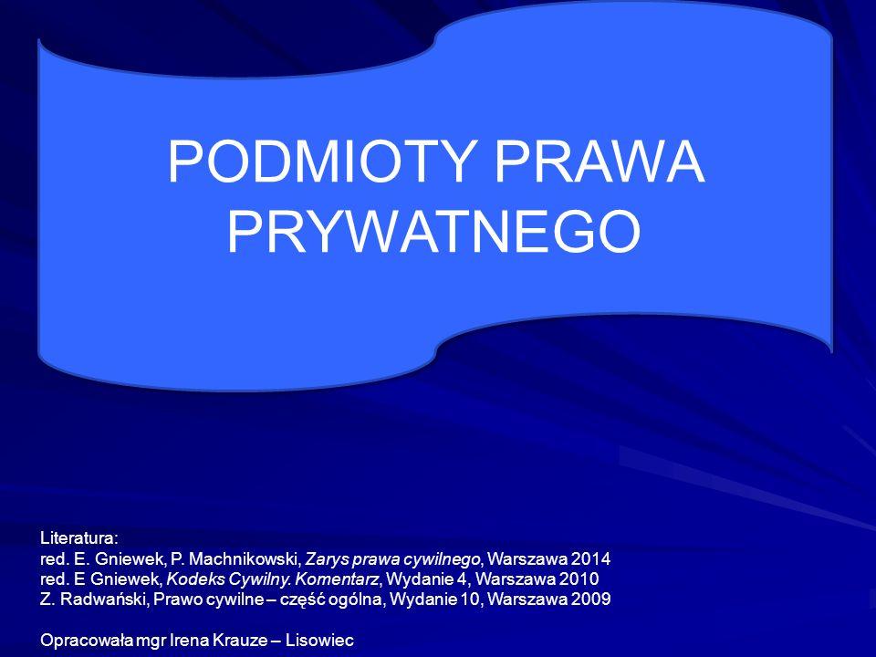 PODMIOTY PRAWA PRYWATNEGO Literatura: red.E. Gniewek, P.