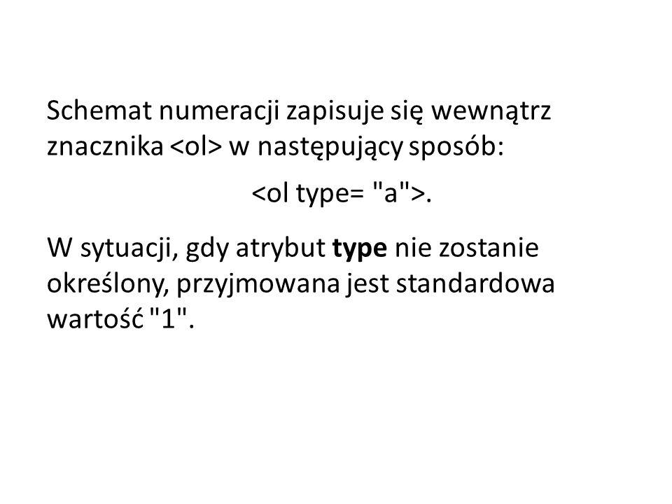 Schemat numeracji zapisuje się wewnątrz znacznika w następujący sposób:.