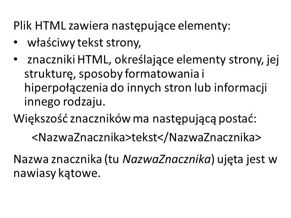 Plik HTML zawiera następujące elementy: właściwy tekst strony, znaczniki HTML, określające elementy strony, jej strukturę, sposoby formatowania i hiperpołączenia do innych stron lub informacji innego rodzaju.