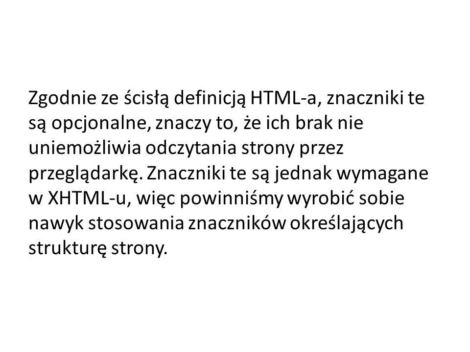 Zgodnie ze ścisłą definicją HTML-a, znaczniki te są opcjonalne, znaczy to, że ich brak nie uniemożliwia odczytania strony przez przeglądarkę.