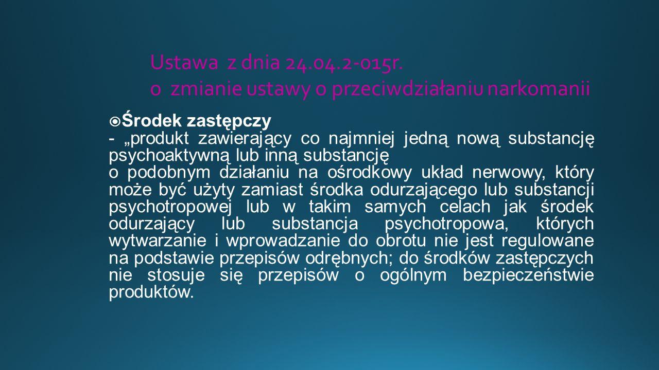 """ """"Dopalacze to nazwa potoczna różnego rodzaju substancji lub ich mieszanek o działaniu psychoaktywnym:  stymulującym,  relaksującym,  halucynogennym które nie znajdują się na liście substancji kontrolowanych"""