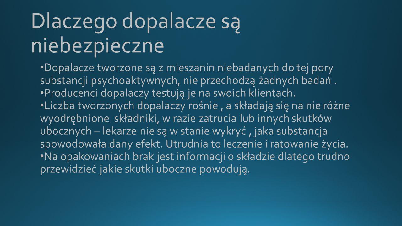 Dopalacze – działania psychoaktywne Dopalacze, podobnie jak narkotyki, mają działanie psychoaktywne, czyli mają wywoływać w organizmie określone stany: odurzenia, pobudzenia, euforii, halucynacje.