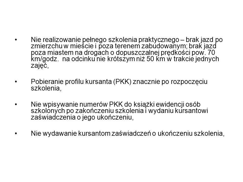 wydawanie zalecenia pokontrolne Skontrolowano w 2013 r.