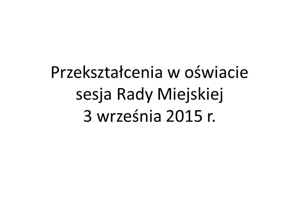 Przekształcenia w oświacie sesja Rady Miejskiej 3 września 2015 r.