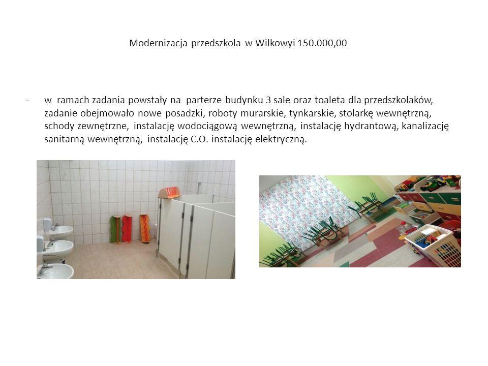 Modernizacja przedszkola w Wilkowyi 150.000,00 -w ramach zadania powstały na parterze budynku 3 sale oraz toaleta dla przedszkolaków, zadanie obejmowa
