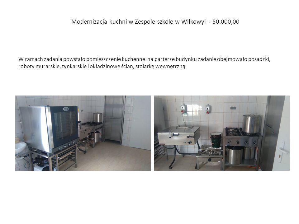 Modernizacja kuchni w Zespole szkole w Wilkowyi - 50.000,00 W ramach zadania powstało pomieszczenie kuchenne na parterze budynku zadanie obejmowało posadzki, roboty murarskie, tynkarskie i okładzinowe ścian, stolarkę wewnętrzną