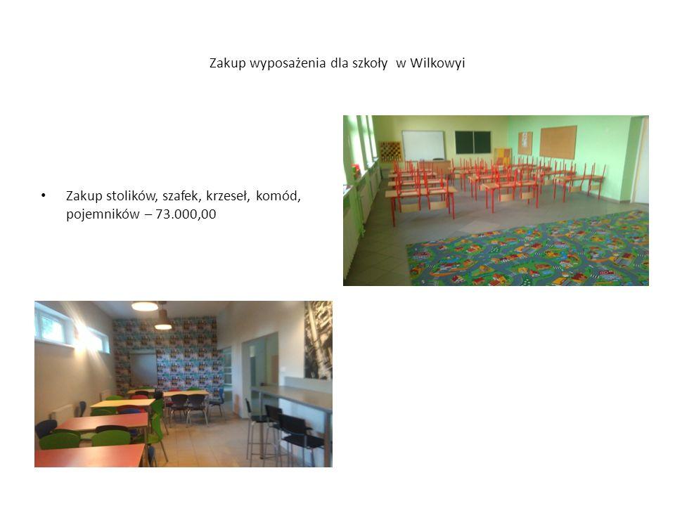 Zakup wyposażenia dla szkoły w Wilkowyi Zakup stolików, szafek, krzeseł, komód, pojemników – 73.000,00