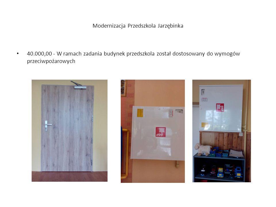 Modernizacja Przedszkola Jarzębinka 40.000,00 - W ramach zadania budynek przedszkola został dostosowany do wymogów przeciwpożarowych