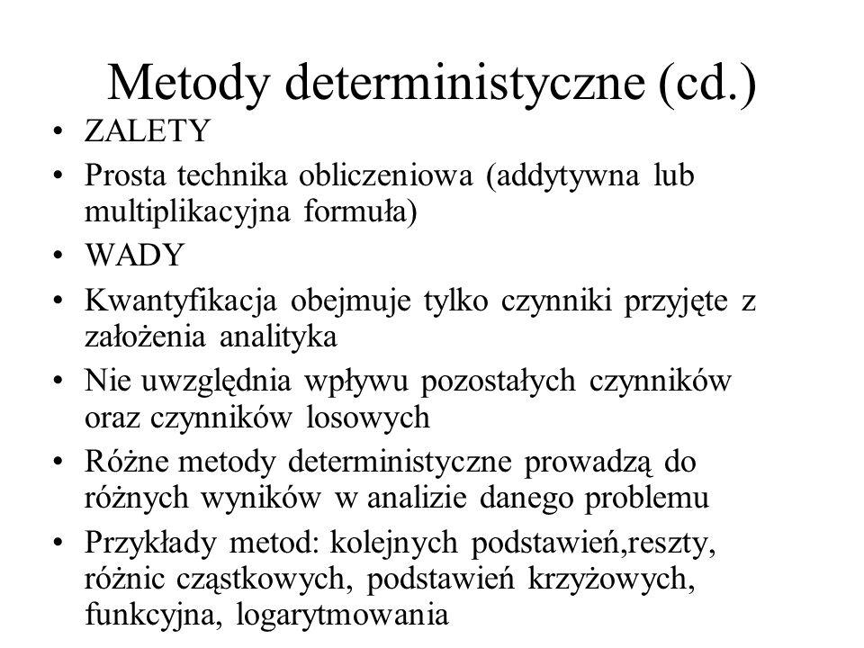 Metody deterministyczne (cd.) ZALETY Prosta technika obliczeniowa (addytywna lub multiplikacyjna formuła) WADY Kwantyfikacja obejmuje tylko czynniki przyjęte z założenia analityka Nie uwzględnia wpływu pozostałych czynników oraz czynników losowych Różne metody deterministyczne prowadzą do różnych wyników w analizie danego problemu Przykłady metod: kolejnych podstawień,reszty, różnic cząstkowych, podstawień krzyżowych, funkcyjna, logarytmowania