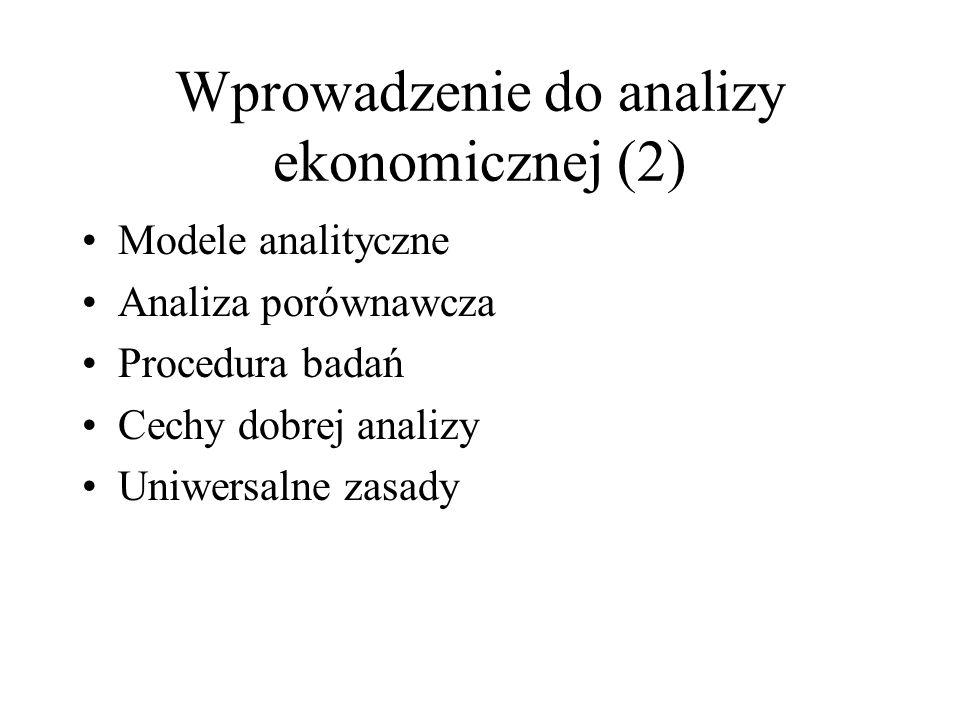 Wprowadzenie do analizy ekonomicznej (2) Modele analityczne Analiza porównawcza Procedura badań Cechy dobrej analizy Uniwersalne zasady