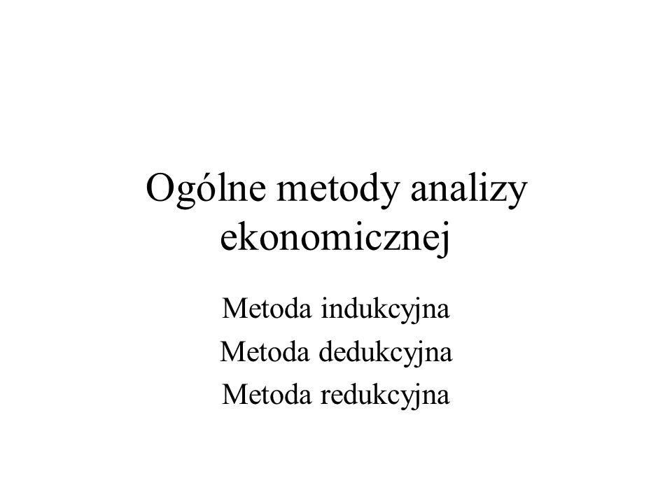 Ogólne metody analizy ekonomicznej Metoda indukcyjna Metoda dedukcyjna Metoda redukcyjna