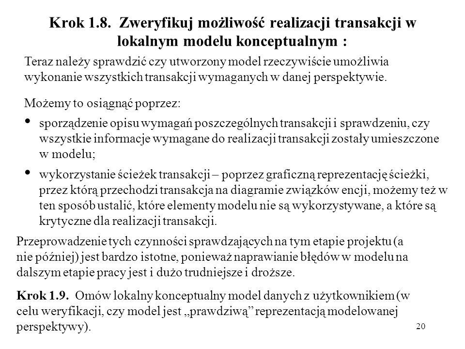 20 Krok 1.8. Zweryfikuj możliwość realizacji transakcji w lokalnym modelu konceptualnym : Teraz należy sprawdzić czy utworzony model rzeczywiście umoż