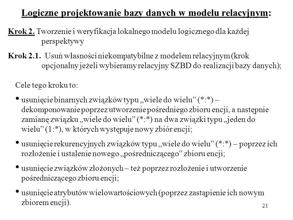 21 Logiczne projektowanie bazy danych w modelu relacyjnym: Krok 2. Tworzenie i weryfikacja lokalnego modelu logicznego dla każdej perspektywy Krok 2.1