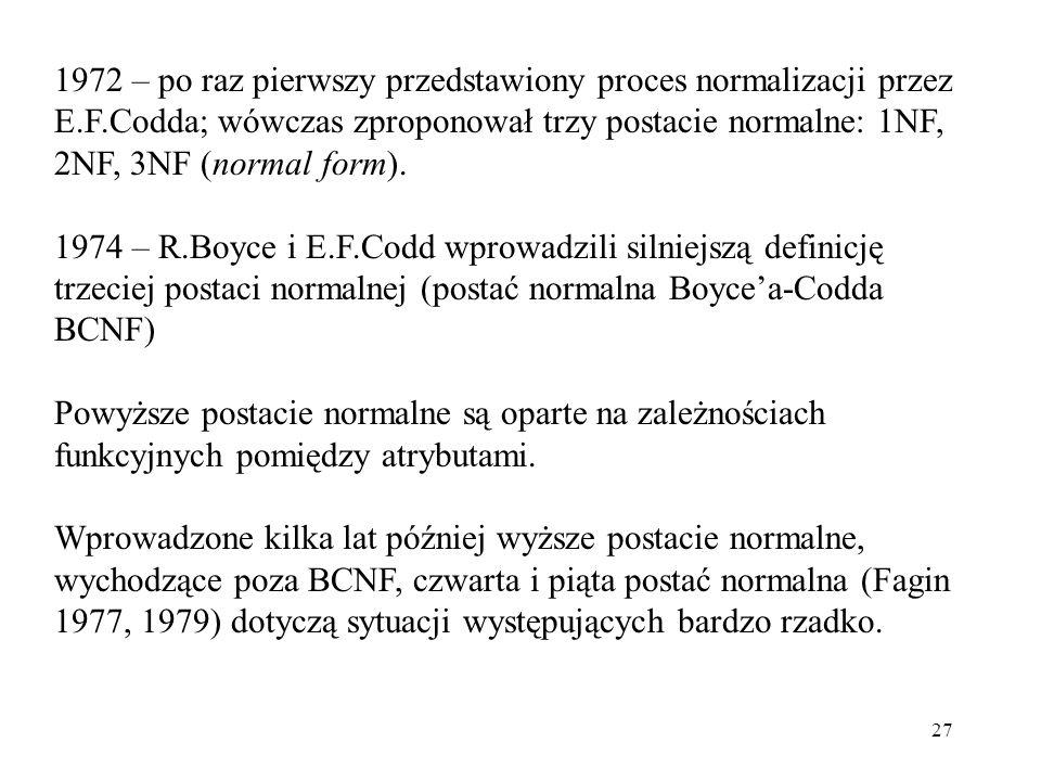 27 1972 – po raz pierwszy przedstawiony proces normalizacji przez E.F.Codda; wówczas zproponował trzy postacie normalne: 1NF, 2NF, 3NF (normal form).