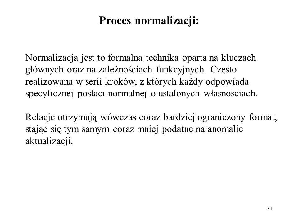 31 Proces normalizacji: Normalizacja jest to formalna technika oparta na kluczach głównych oraz na zależnościach funkcyjnych. Często realizowana w ser