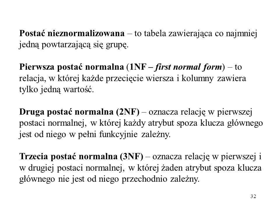 32 Postać nieznormalizowana – to tabela zawierająca co najmniej jedną powtarzającą się grupę. Pierwsza postać normalna (1NF – first normal form) – to