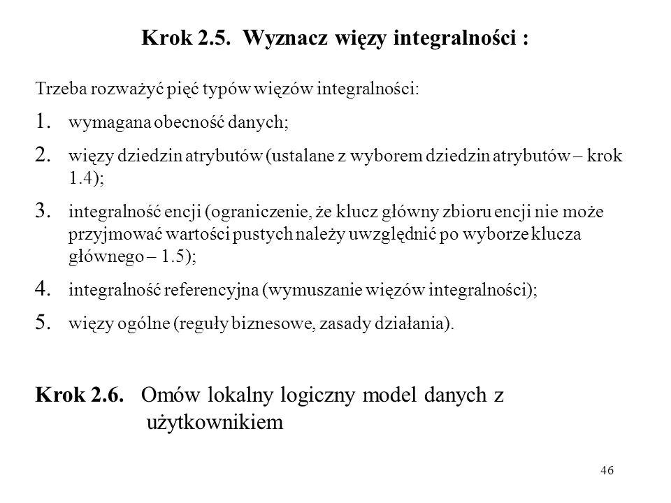 46 Krok 2.5. Wyznacz więzy integralności : Trzeba rozważyć pięć typów więzów integralności: 1. wymagana obecność danych; 2. więzy dziedzin atrybutów (
