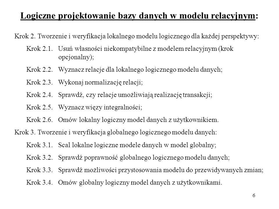 6 Logiczne projektowanie bazy danych w modelu relacyjnym: Krok 2. Tworzenie i weryfikacja lokalnego modelu logicznego dla każdej perspektywy: Krok 2.1
