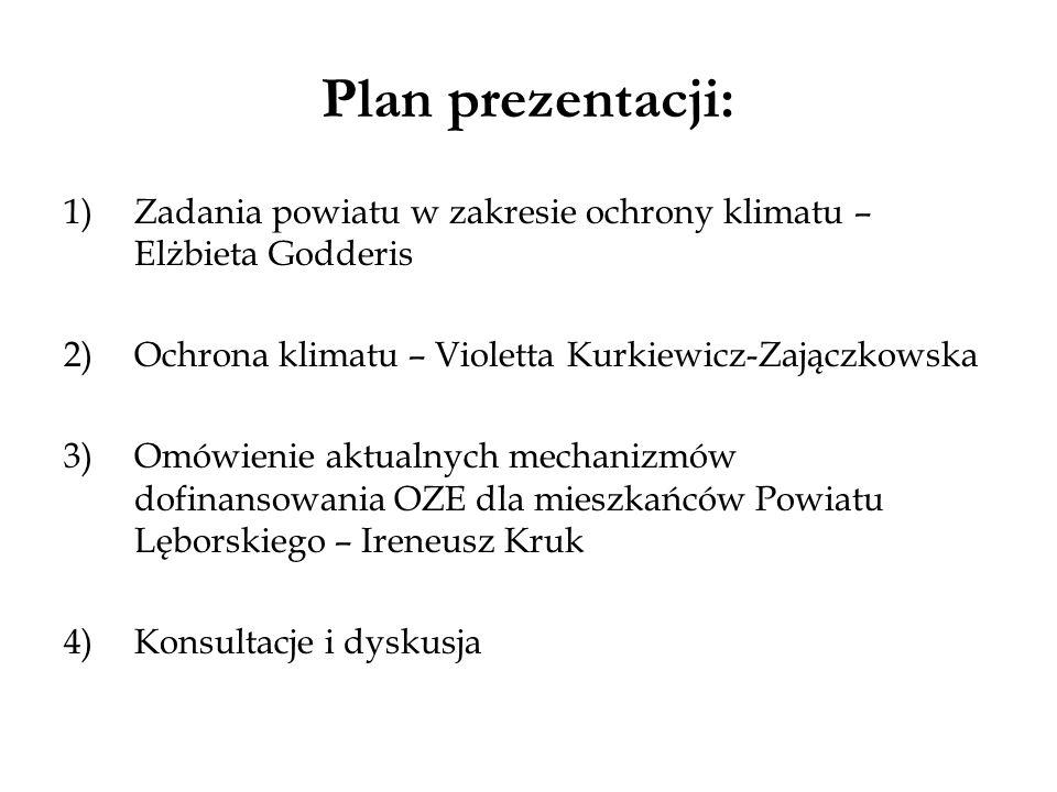 Plan prezentacji: 1)Zadania powiatu w zakresie ochrony klimatu – Elżbieta Godderis 2)Ochrona klimatu – Violetta Kurkiewicz-Zajączkowska 3)Omówienie ak