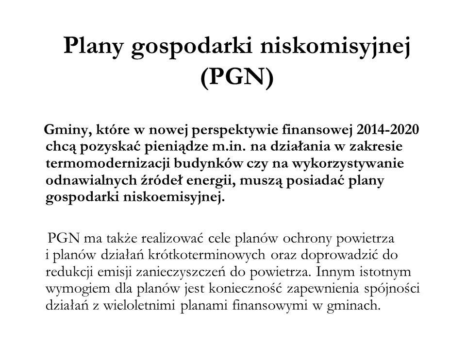 Plany gospodarki niskomisyjnej (PGN) Gminy, które w nowej perspektywie finansowej 2014-2020 chcą pozyskać pieniądze m.in. na działania w zakresie term