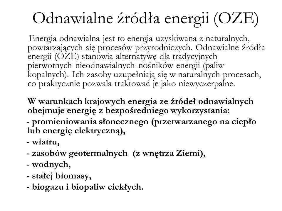 Odnawialne źródła energii (OZE) Energia odnawialna jest to energia uzyskiwana z naturalnych, powtarzających się procesów przyrodniczych. Odnawialne źr