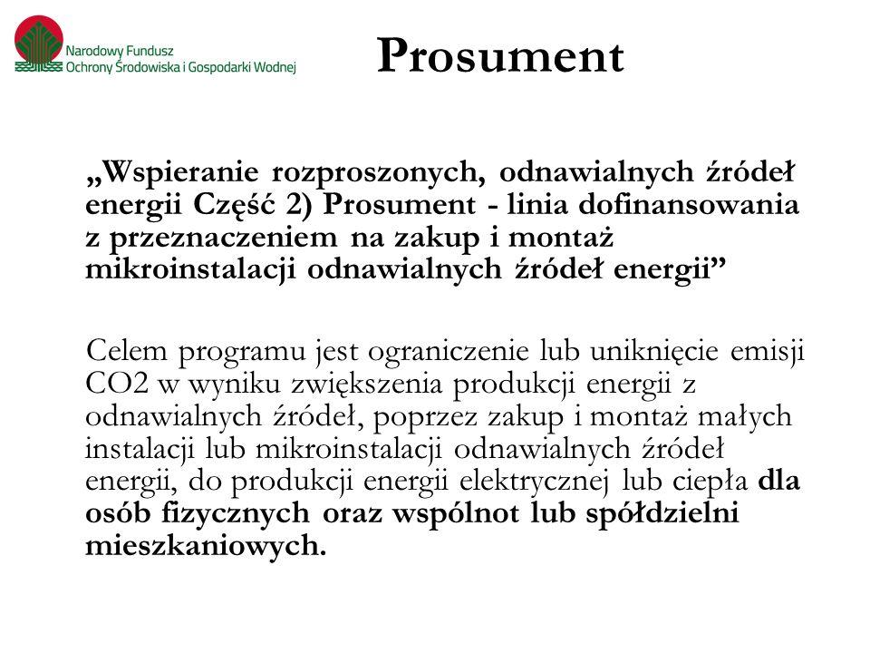 """Prosument """"Wspieranie rozproszonych, odnawialnych źródeł energii Część 2) Prosument - linia dofinansowania z przeznaczeniem na zakup i montaż mikroins"""