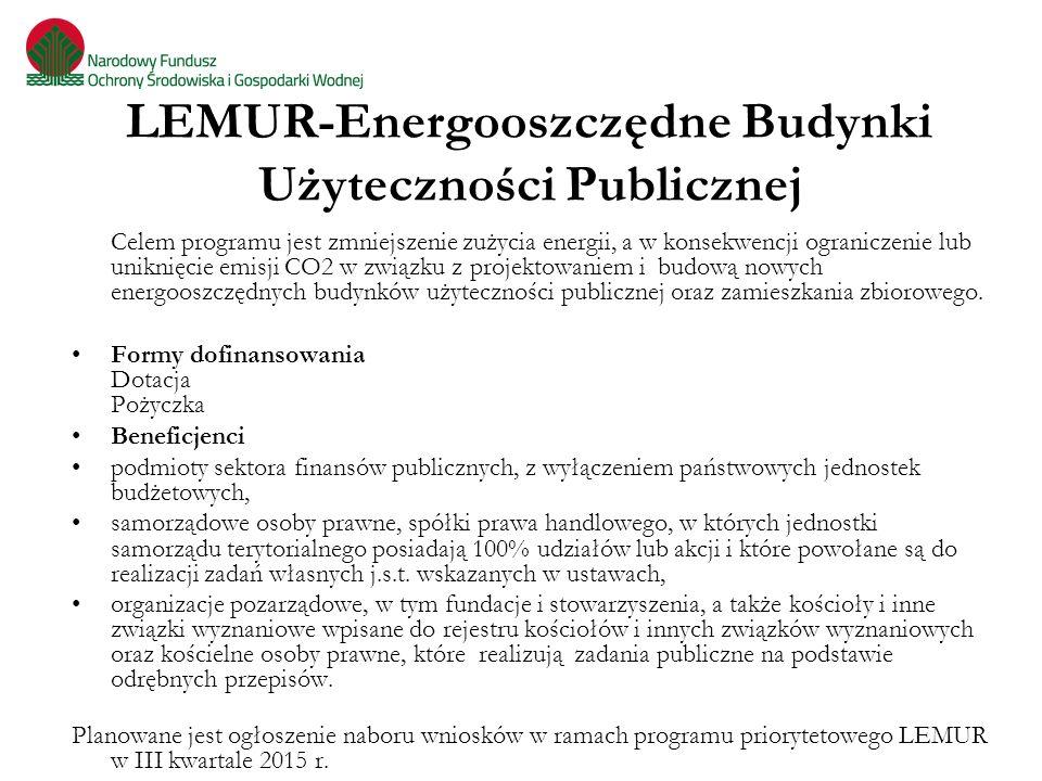 LEMUR-Energooszczędne Budynki Użyteczności Publicznej Celem programu jest zmniejszenie zużycia energii, a w konsekwencji ograniczenie lub uniknięcie e