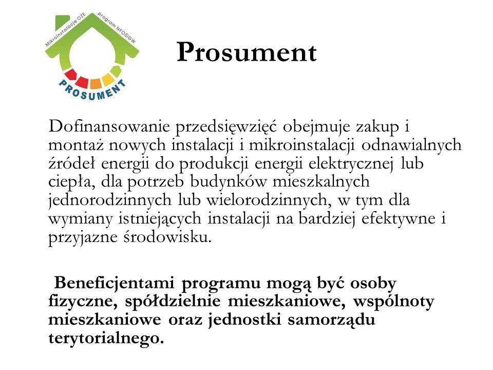 Prosument Dofinansowanie przedsięwzięć obejmuje zakup i montaż nowych instalacji i mikroinstalacji odnawialnych źródeł energii do produkcji energii el