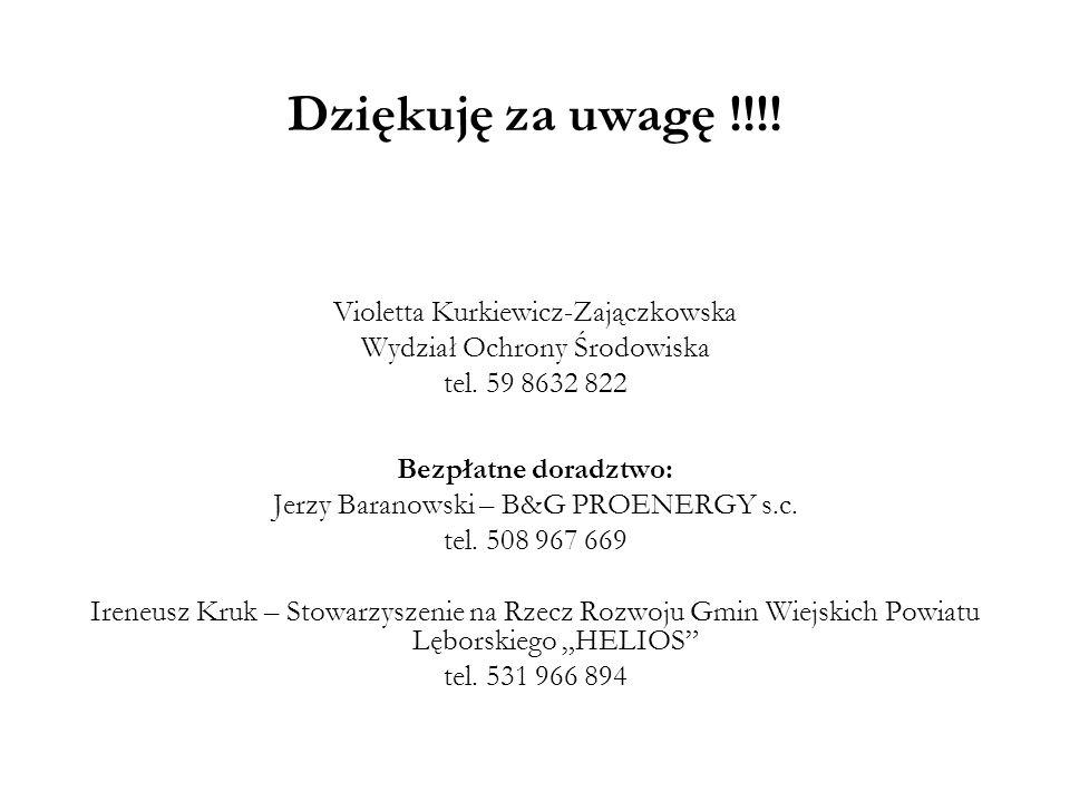 Dziękuję za uwagę !!!! Violetta Kurkiewicz-Zajączkowska Wydział Ochrony Środowiska tel. 59 8632 822 Bezpłatne doradztwo: Jerzy Baranowski – B&G PROENE