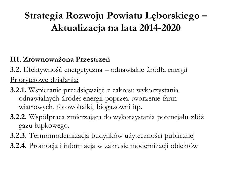 Strategia Rozwoju Powiatu Lęborskiego – Aktualizacja na lata 2014-2020 III. Zrównoważona Przestrzeń 3.2. Efektywność energetyczna – odnawialne źródła