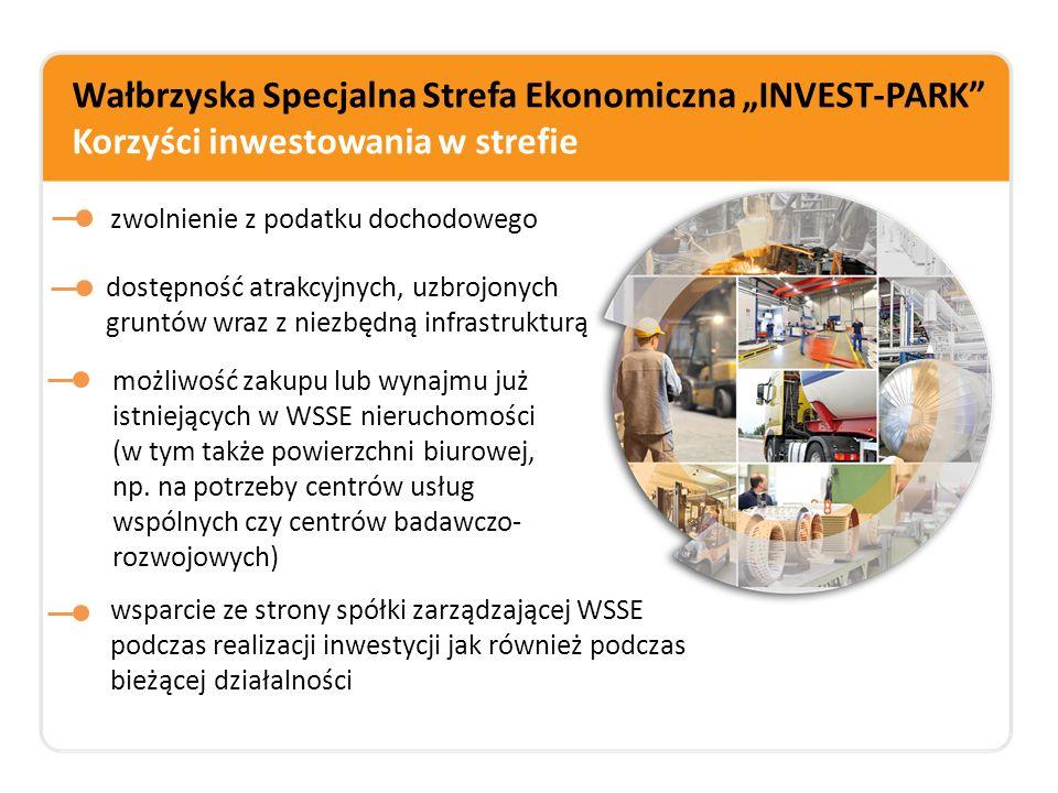 """Wałbrzyska Specjalna Strefa Ekonomiczna """"INVEST-PARK"""" Korzyści inwestowania w strefie zwolnienie z podatku dochodowego dostępność atrakcyjnych, uzbroj"""