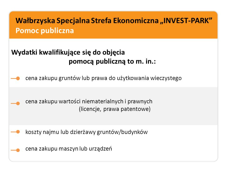 """Wałbrzyska Specjalna Strefa Ekonomiczna """"INVEST-PARK Przykład obliczania ulgi podatkowej (z tytułu kosztów nowej inwestycji) Wielkość przedsiębiorstwa: małe Lokalizacja inwestycji: Niemodlin Wydatki inwestycyjne: - zakup gruntu: 400.000 PLN - budynki, budowle: 500.000 PLN -maszyny, urządzenia: 300.000 PLN -Całkowity koszt nowej inwestycji: 1 mln 200 tys."""