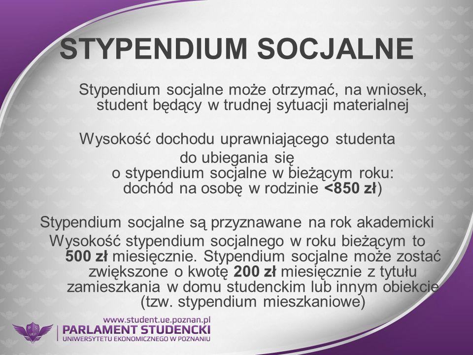 STYPENDIUM SOCJALNE Stypendium socjalne może otrzymać, na wniosek, student będący w trudnej sytuacji materialnej Wysokość dochodu uprawniającego stude