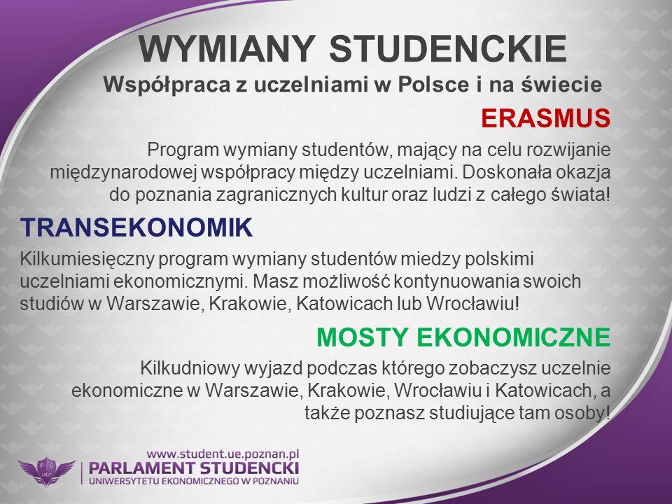 WYMIANY STUDENCKIE Współpraca z uczelniami w Polsce i na świecie ERASMUS Program wymiany studentów, mający na celu rozwijanie międzynarodowej współpra