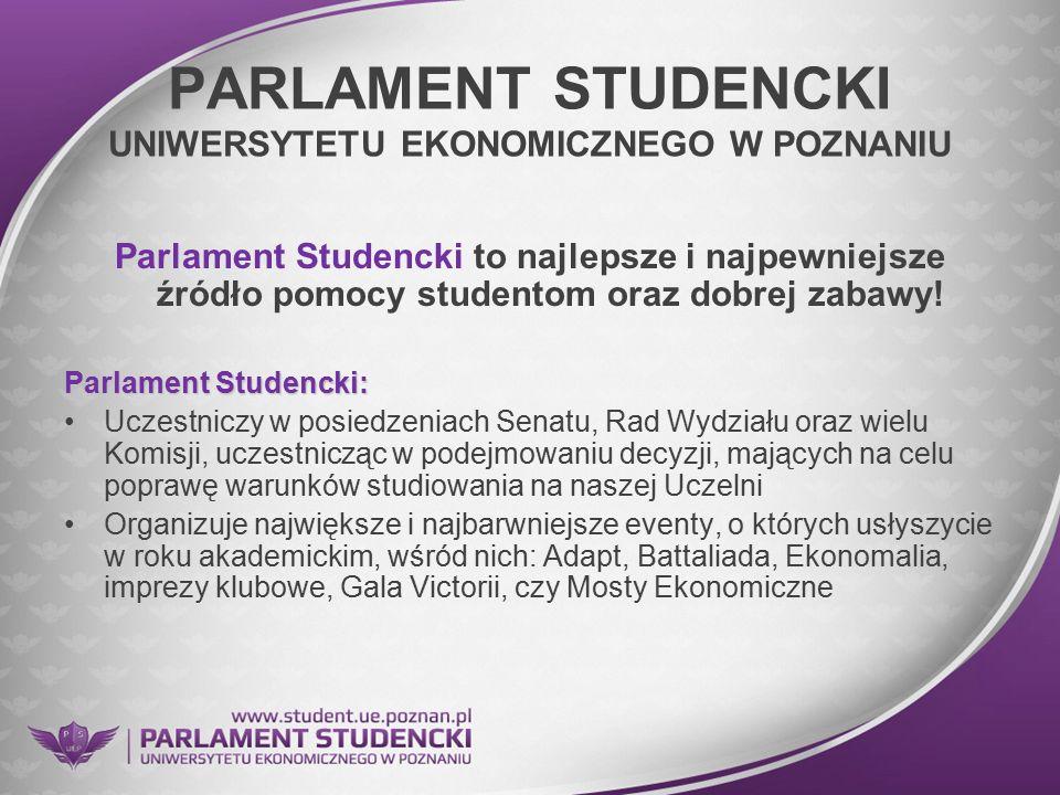 PARLAMENT STUDENCKI UNIWERSYTETU EKONOMICZNEGO W POZNANIU Parlament Studencki to najlepsze i najpewniejsze źródło pomocy studentom oraz dobrej zabawy!