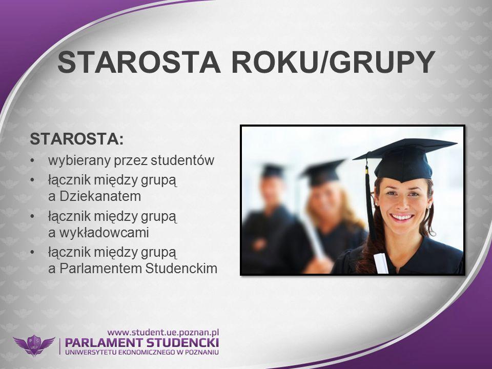 STAROSTA ROKU/GRUPY STAROSTA: wybierany przez studentów łącznik między grupą a Dziekanatem łącznik między grupą a wykładowcami łącznik między grupą a