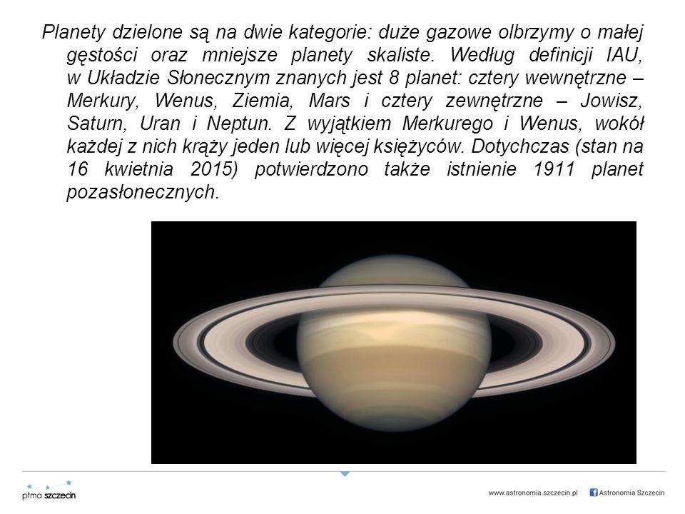Planety dzielone są na dwie kategorie: duże gazowe olbrzymy o małej gęstości oraz mniejsze planety skaliste.