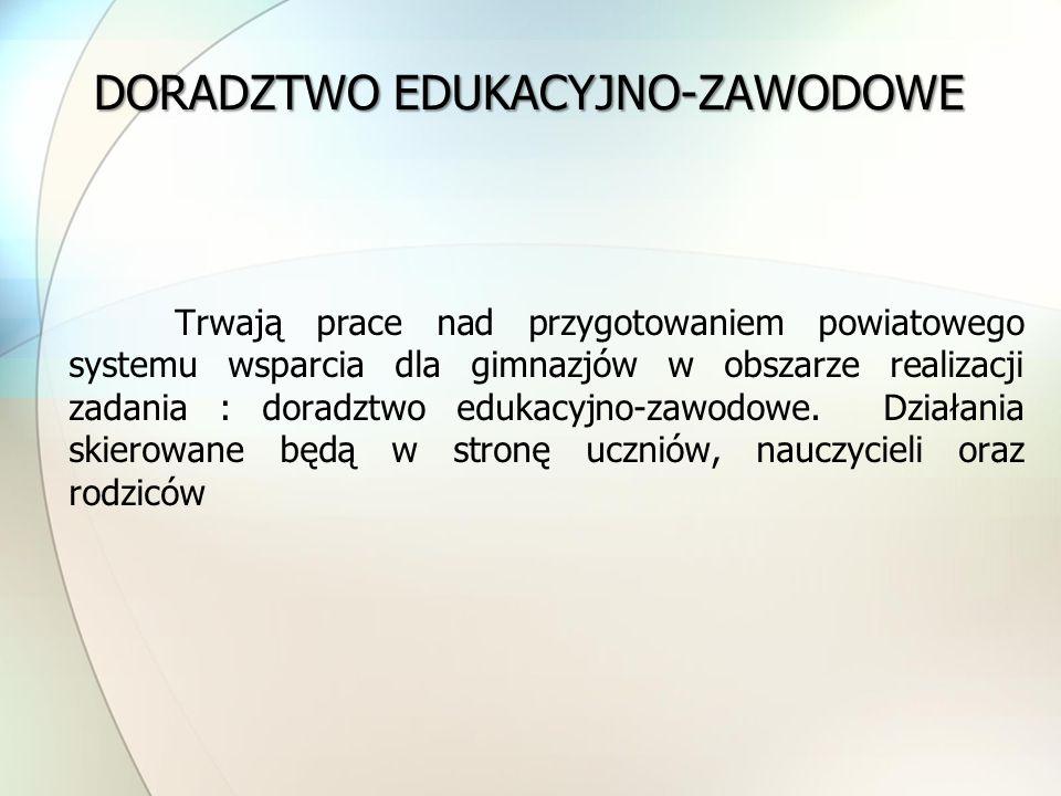 Trwają prace nad przygotowaniem powiatowego systemu wsparcia dla gimnazjów w obszarze realizacji zadania : doradztwo edukacyjno-zawodowe. Działania sk